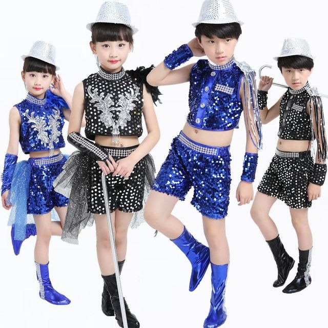 de8afb99b 5pcs/lot Free Shipping Sequin Kids Hiphop Jazz Dance Costumes for Girls  Boys Stage Competition