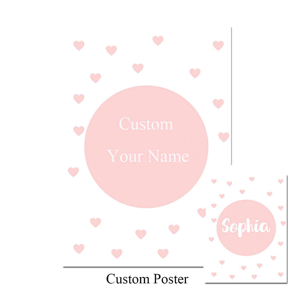 NDITB Personal Name Custom Poster Cartoon Pink Swan Nursery Print Painting Decorative Picture Baby Girls Living Room Decoration