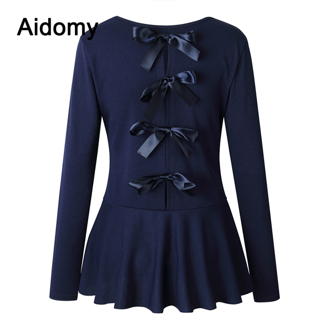 Back Tie Up Peplum Top Women Long Sleeve Blouse Ruffles Bandage Bow Shirt 2019 Fashion Casual Elegant Ladies Tops And Blouses