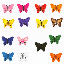 hot deal buy size 6.8cm*5.3cm 15 colors butterfly patchwork patch embroidered patches for clothing iron on for close shoes bags badges