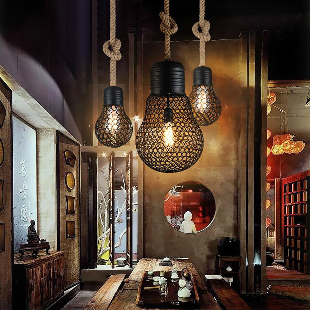 Rétro fer Art créatif chanvre corde lustre américain Rural individualité vieux Bar café Restaurant lustre LM6051447py - 3
