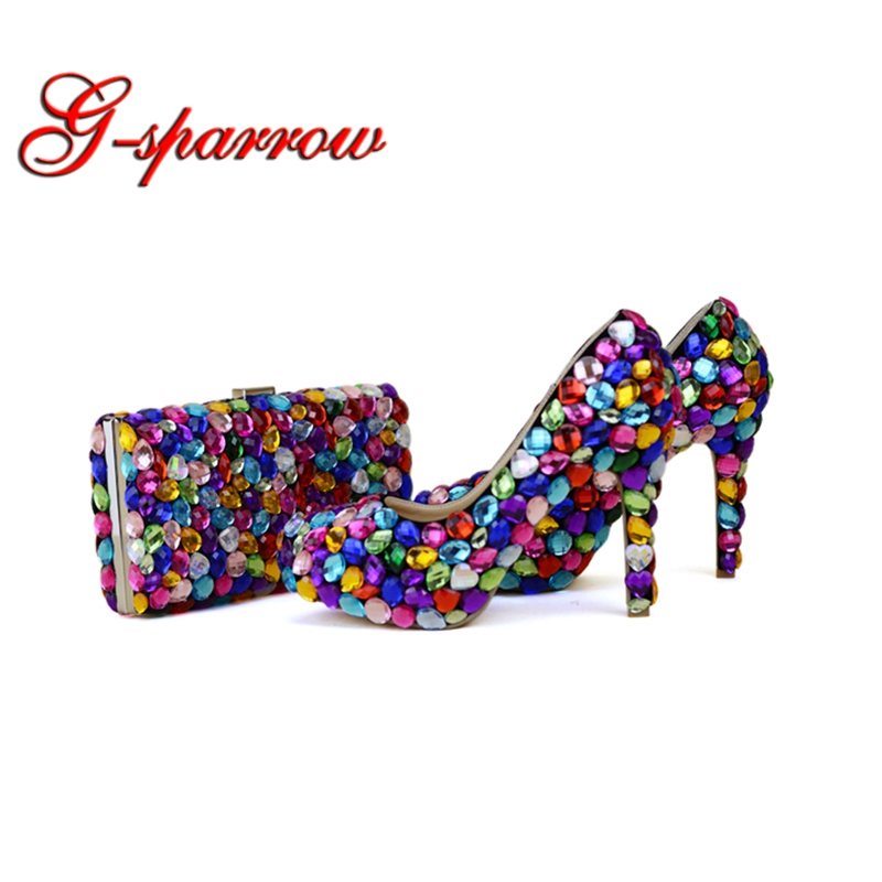 Mix Color Blue Green Yellow Purple Wedding Party Shoes with Clutch 4 Inches High  Heel Graduation Prom Pumps Matching Bag 99267af1b65e