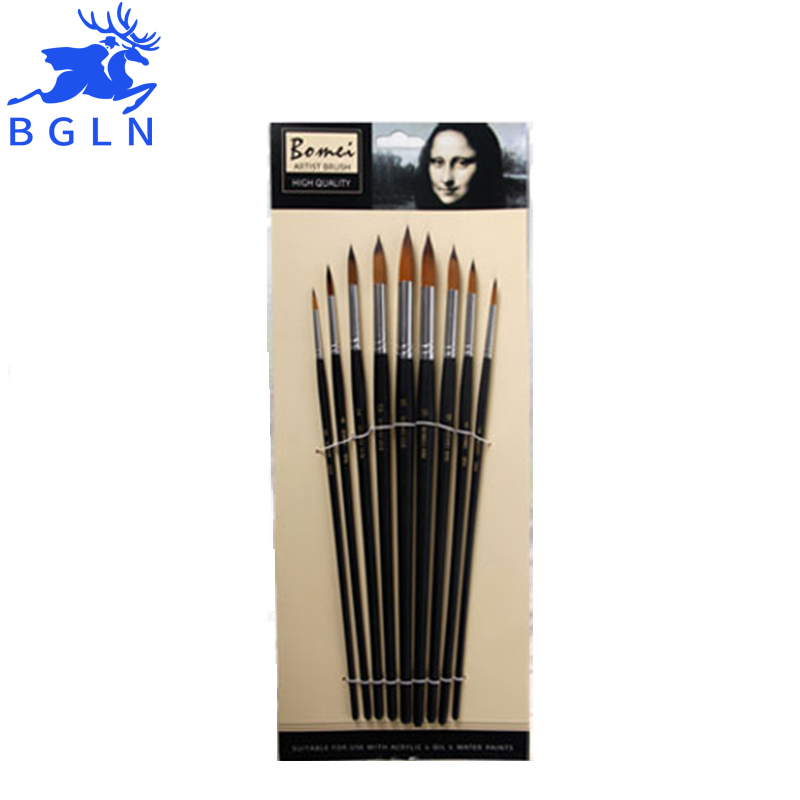 BGLN 9 Pcs Long Handle Filbert Shape Brass Ferrules Artist Paint Brushes Set for Watercolor Oil Acrylic Gouache special steaming machine cabinet door handles