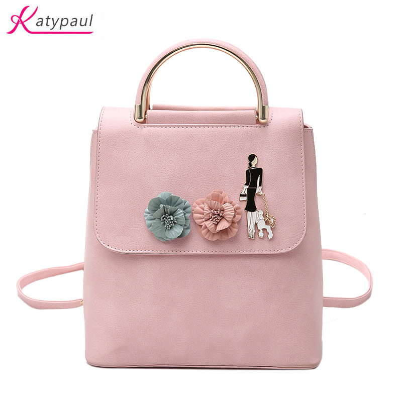 2017 PU Leather Fashion Bag Pink White Backpack Women Designer Bag School Bags For Teenagers Backpacks Girls Multi-function Bags