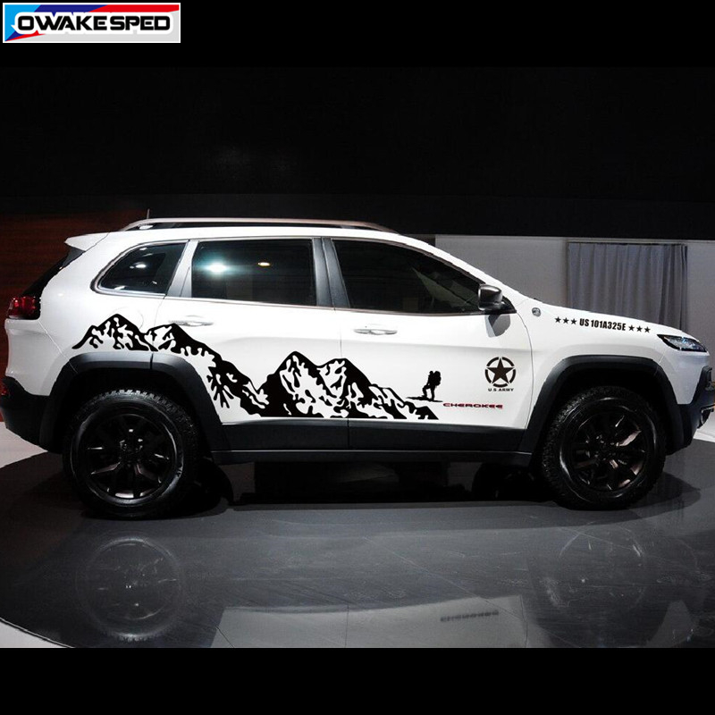 Mountain Outdoor Sport Decals Car Styling Door Side Decor Sticker For Jeep Grand Cherokee Compass Auto