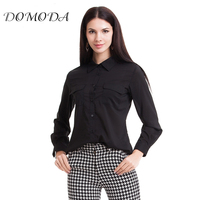 DOMODA 2017 Spring Autumn Women Tops Long Sleeve Stylish Button Shirt Decorative Button Flap Black White Elegant Blouse