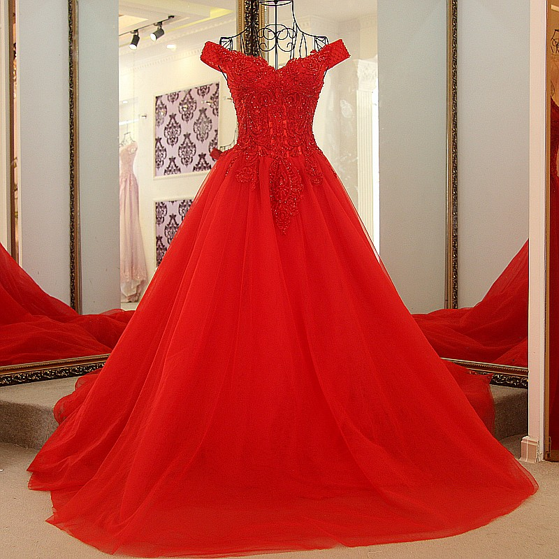 LS5119 abiye gece elbisesi A line luxury beaded pearls off the shoulder corset back tulle red evening dresses long(China (Mainland))