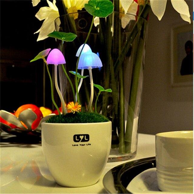 Contrôleur de capteur LED veilleuse en pot Style plante céramique coquille maison lumières 110V 220V EUUS Plug Table lumières champignon lampe