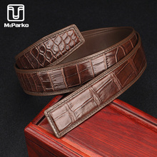 McParko Genuine Alligator Leather Belt Without Buckle Luxury crocodile leather belt men Fashion Waist Strap 3.8cm Brown