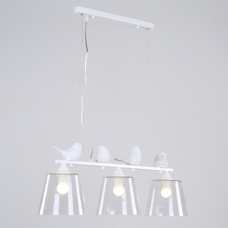 Lampe Style campagnard suspension moderne salle à manger cuisine maison luminaire résine oiseau verre abat-jour fer blanc E27 110-240 V
