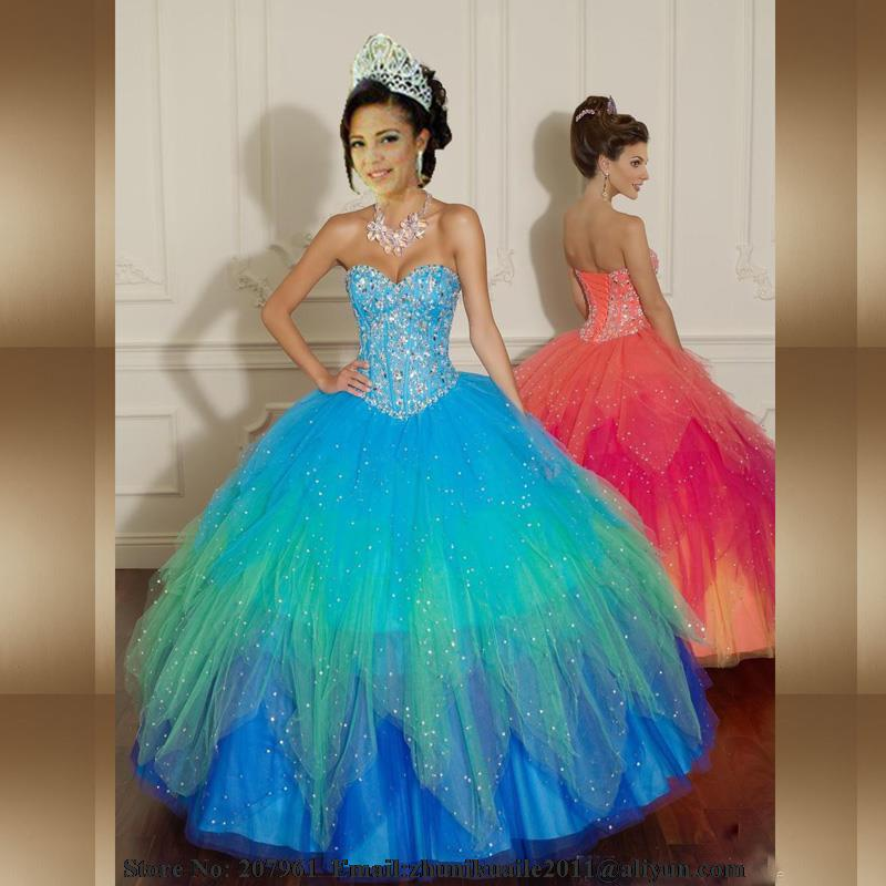 cecfabd0fa 2017 New Blue Quinceanera Dresses Sweetheart Beading Quinceanera rainbow  Ball Gowns Vintage Prom Dress sweet 16 dresses Hot Sale