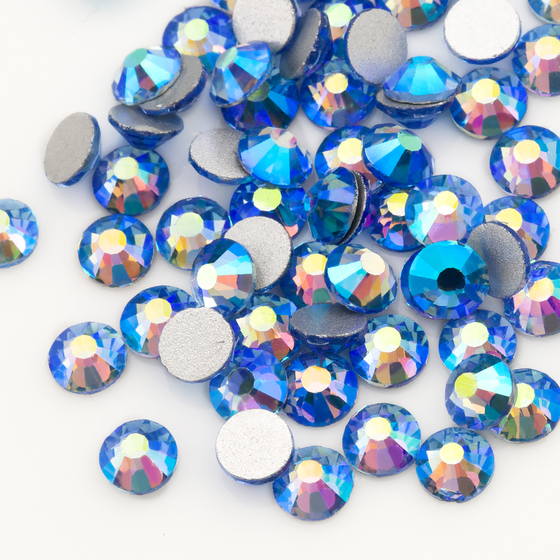 QIAO Light blue AB Crystal Glass SS16 SS20 Nail Art On Rhinestone/Non Hot Fix Rhinestones For Clothes Decoration Gem