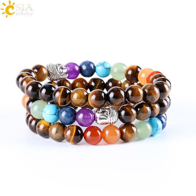 CSJA 8mm Natural Round Stone Tiger Eye Beads Buddha Bracelets 7 Chakra Healing Mala Meditation Prayer Yoga Women Jewellery E329 2