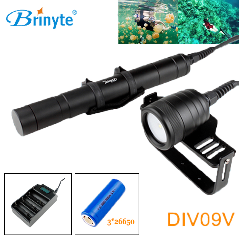 Brinyte DIV09V Underwater Videography Fill Light Canister Diving Flashlight Cree XM-L2 LED Mergulho Torch with 26650 Battery