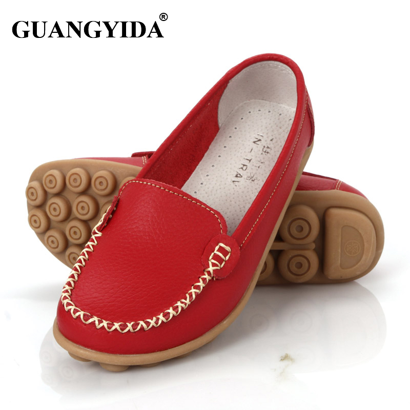 New 2016 Women genuine Leather Shoes Slip on Ballet women Flats Comfort shoes woman moccasins sapatilhas