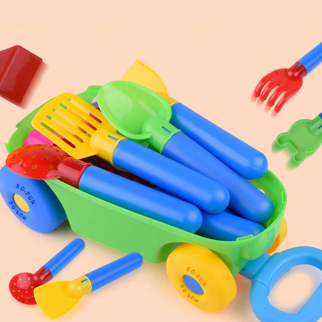 15 pçs crianças brinquedos de areia ao ar livre praia brinquedo carrinho de bagagem areia jogo conjunto escavação pá ferramentas banho água jogando brinquedo-cor aleatória