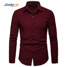 Covrlge Spring Autumn Long-Staple High Quality Shirt Long Sleeve Men Blouse Social Casual Shirts Classic Dress MCL201