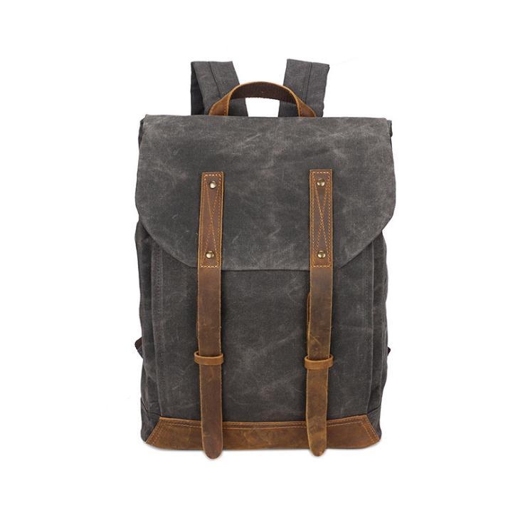 Backpack crazy horse leather bag vintage travel canvas bag waterproof backpack pinepoxp bag