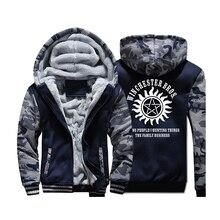 Tv 쇼 초자연 절약 사람들 사냥 것들 카모 후드 티 스웨터 남자 2019 온천 겨울 위장 군사 재킷