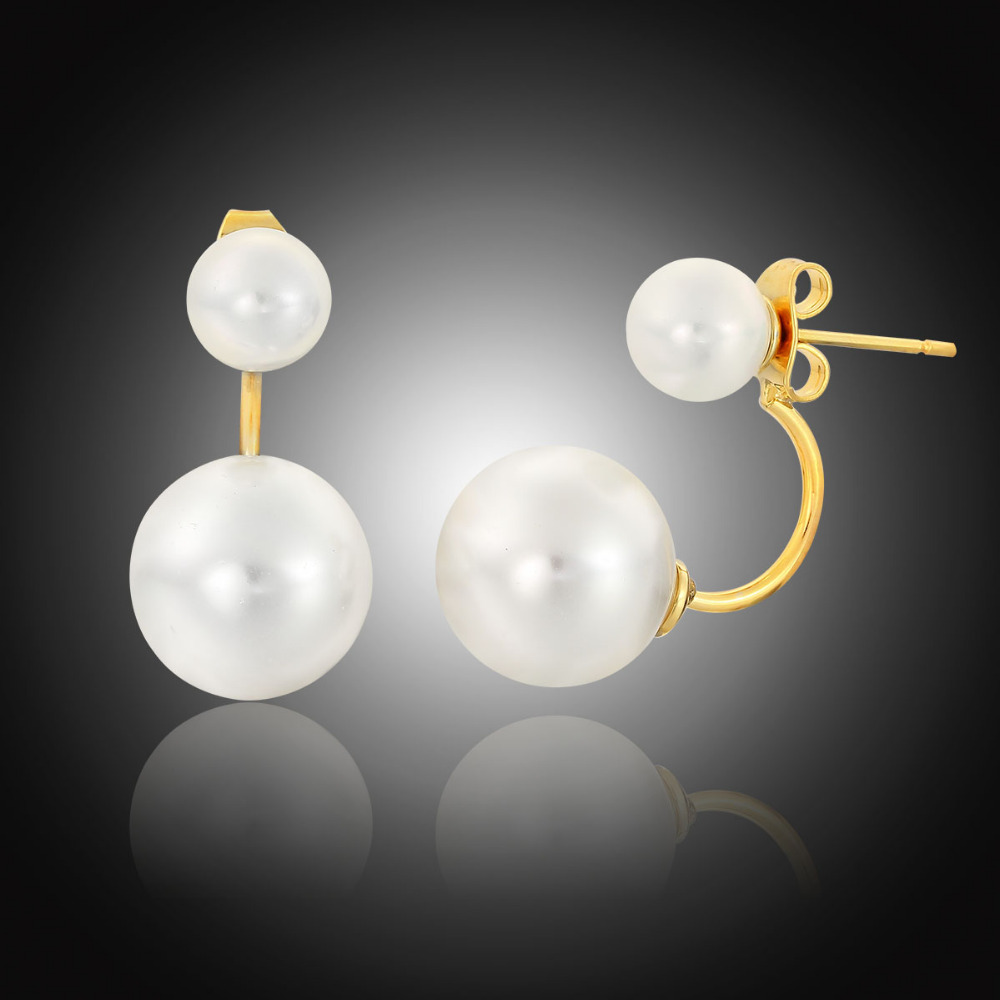 Front To Back Yellow Gold Color Ear Jacket Double White Pearl Swing Stud  Earrings For Women