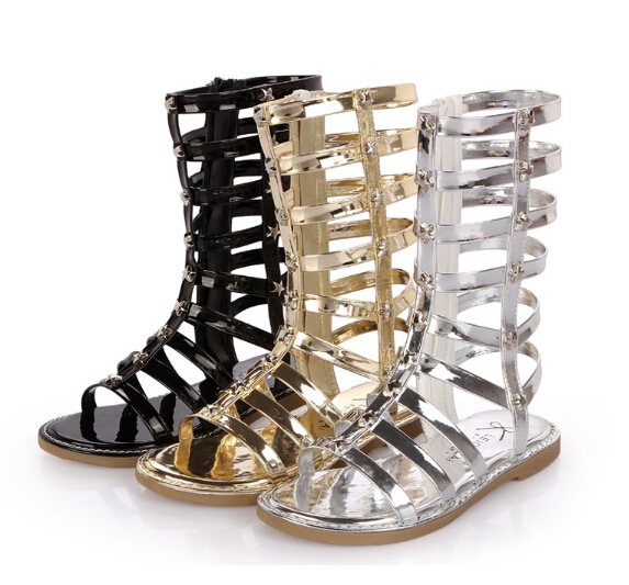 d66cef55782c 2015 summer new fashion Kids Children s open-toed knee high gladiator  sandals Girls and Boys shoes sandals Rome