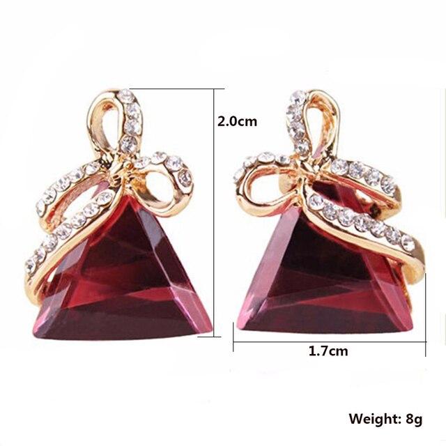 Женские серьги гвоздики с австрийским кристаллом золотой треугольный