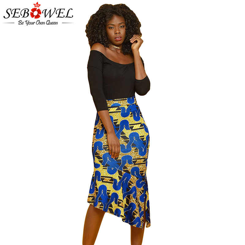 2c423c8de76 SEBOWEL 2018 Elegant Fashion Yellow African Print Pencil Midi Skirt Women  Plus size High Waist Stretch