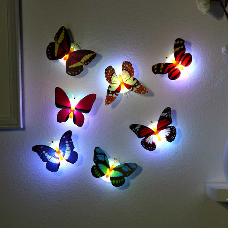 10pcs/lot Butterfly Night Light Color Light For Kitchen Bedroom Living Kid Room Home Decor Easy Installation Led Night Light New
