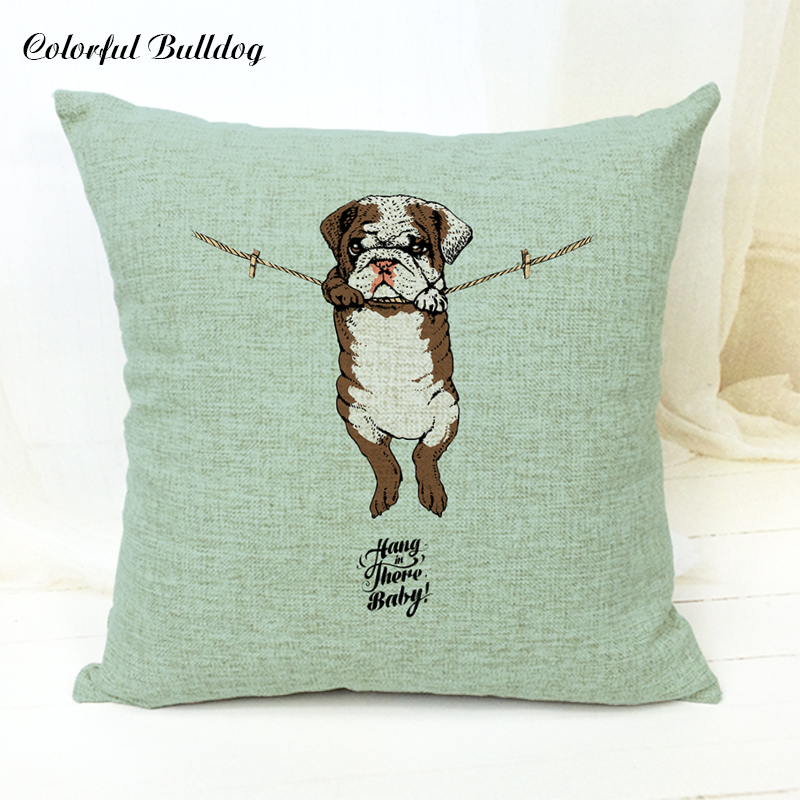 Lovely Dog Print Bulldog Hang There Baby Puppy Pug Boxer Dog Sloth Cushion Cover Sloth Decorate Home Car Seat Summer Pillow Cove