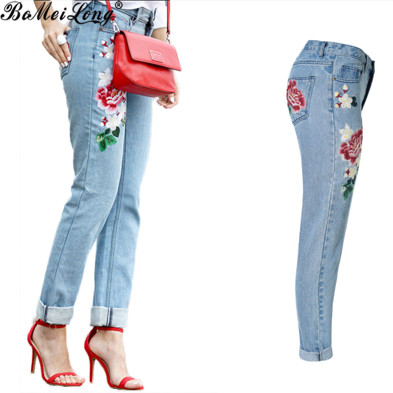 Floral Embroidery Slim Jeans Female Autumn Winter 2016 Tapered Leg Casual Pants Capris Pockets Boyfit Jeans Women Bottom B0586 flower embroidery jeans female blue casual pants capris 2017 spring summer pockets straight jeans women bottom a46