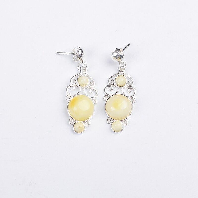 все цены на JIUDUO Genuine Simple wild Korean earrings natural amber beads sterling silver hypoallergenic earrings Free shipping Fashion онлайн