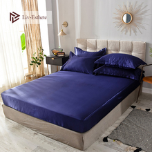 Liv-Esthete Wholesale Luxury 100% Satin Silk Dark Blue Fitted Sheet Silky Mattress Cover Queen King Bed Sheets For Women Men 1pc