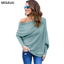 купить MISAUU Sexy Off Shoulder Knitted Sweater Women Fashion Pullovers Knitwear Autumn Winter 2018 White jumper pull femme Plus Size в интернет-магазине