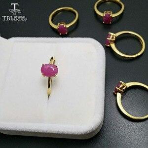Image 2 - TBJ,100% naturalny prawdziwy rubinowy kamień pierścień w 925 sterling silver yellow gold fine kolor biżuterii dla kobiet z szkatułce