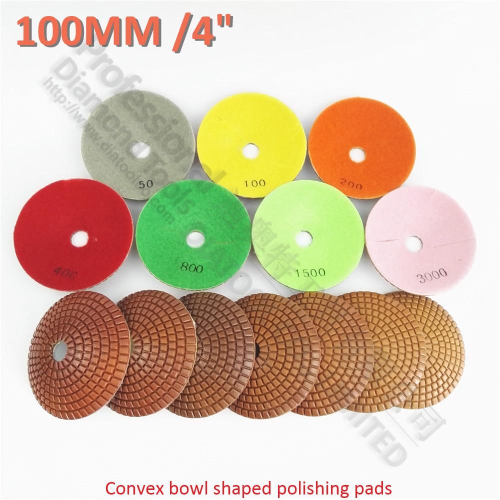 DIATOOT 14pcs set 2pcs each Grits convex wet diamond polishing pads bowl shaped sanding disc