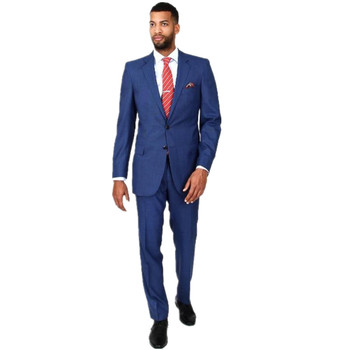 new fashion blue classic 2 button mens suits for wedding with notch lapel custom made two-piece slim fit men suit jacket+pants