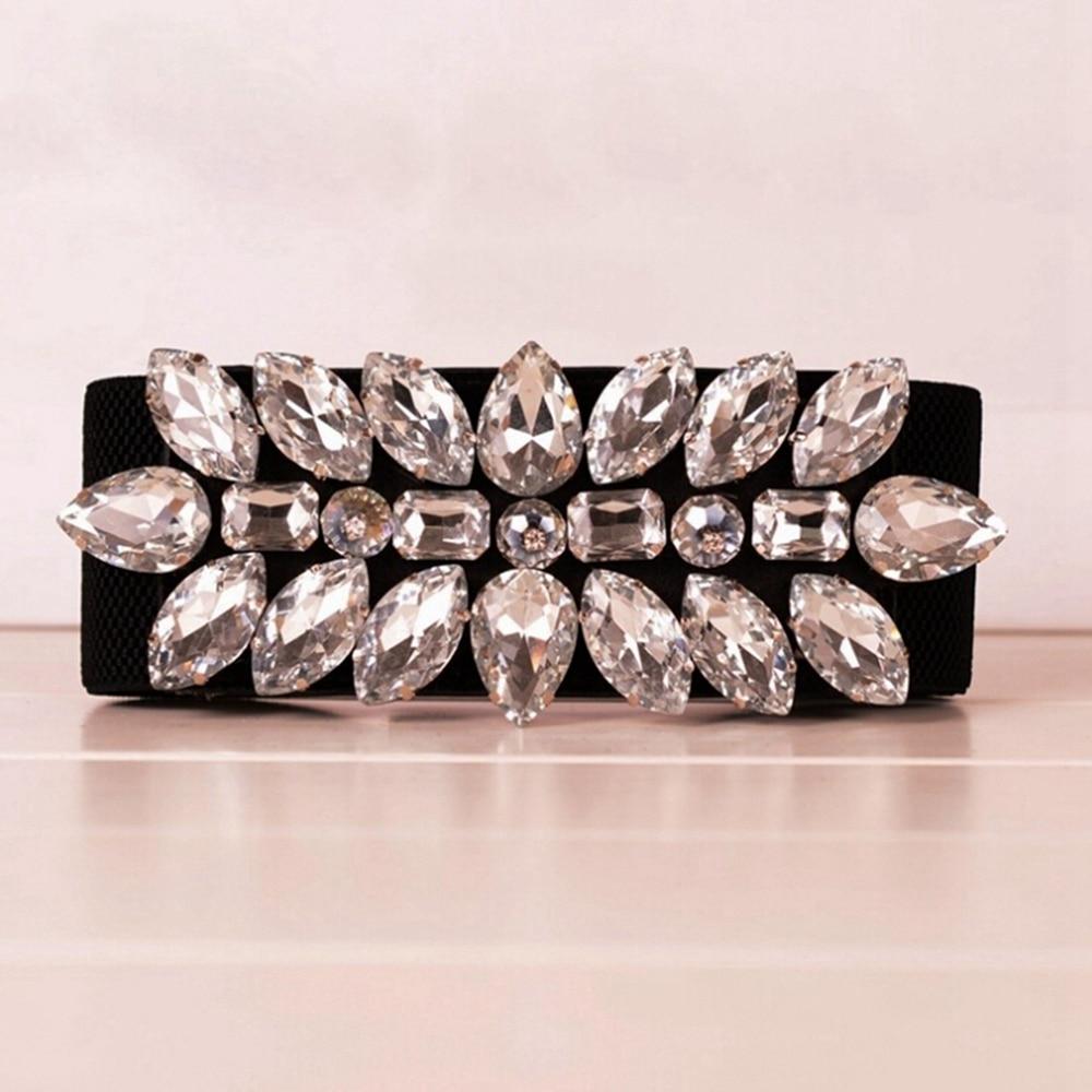 Elegant Crystal Elastic Waist Belt For Women Wide Cummerbunds Corset Belts Black White Stretch Waistband Cinch Ceinture
