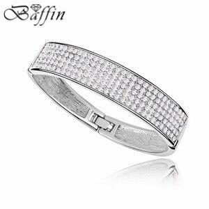 Platinum plated Crossfit Pulseiras Hand Bracelet Bangles Nigerian wedding African Jewelry Crystals from Swarovski