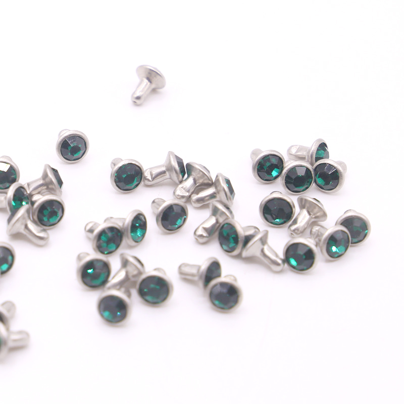 30-200Sets 6mm Color Crystal Rhinestone Rivets Diamante Studs DIY Crafts Clothing Leather Decor Rebite Spikes Tubular Drill Nail