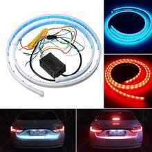 цена на LED Strip Tail Light Streamer Flexible Brake Ice Blue Red Flowing Rear Trunk Dynamic Turn Signal Reverse Warning Flash Lights