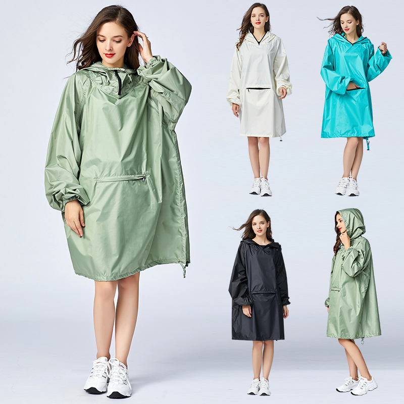 Women's Stylish Waterproof Rain Poncho Cloak Raincoat With Hood Sleeves And Big Pocket On Front.