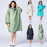 Для женщин стильные непромокаемые дождевики = пончо плащ-дождевик с капюшоном рукава и большой карман на передней.