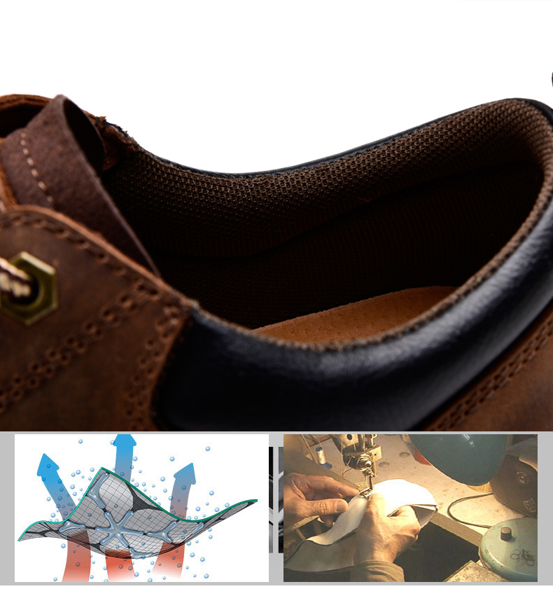 19 New Fashion Men's Genuine Leather Shoes Men Lace Up Oxford Flats Spring Autumn Comfortable Handmade Moccasins Men Shoes 6