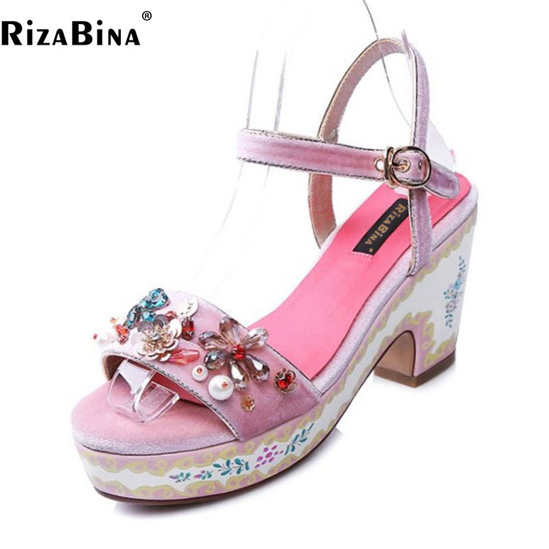 Фотография RizaBina Women Platform Genuine Leather High Heel Sandal Women Beading Thick Heel Sandal Dress Elegant Women Footwear Size 34-40