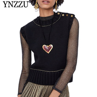 YNZZU 2019 Spring New Women Knitted Vest Chic Buttons Black Sleeveless Sweater Women Pullovers Loose Jumper Women Tops YT507