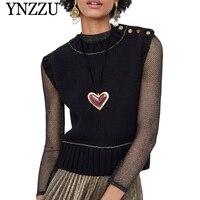 YNZZU 2019 Spring New Women Knitted Vest Chic Buttons Black Sleeveless Sweater Women Pullovers Loose Jumper Women Tops YT507