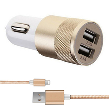 Car Charger Adaptor Bullet Dual USB 2 Port charger 2a car-charger 2 usb micro mini usb charger car for Call phone gps DVR