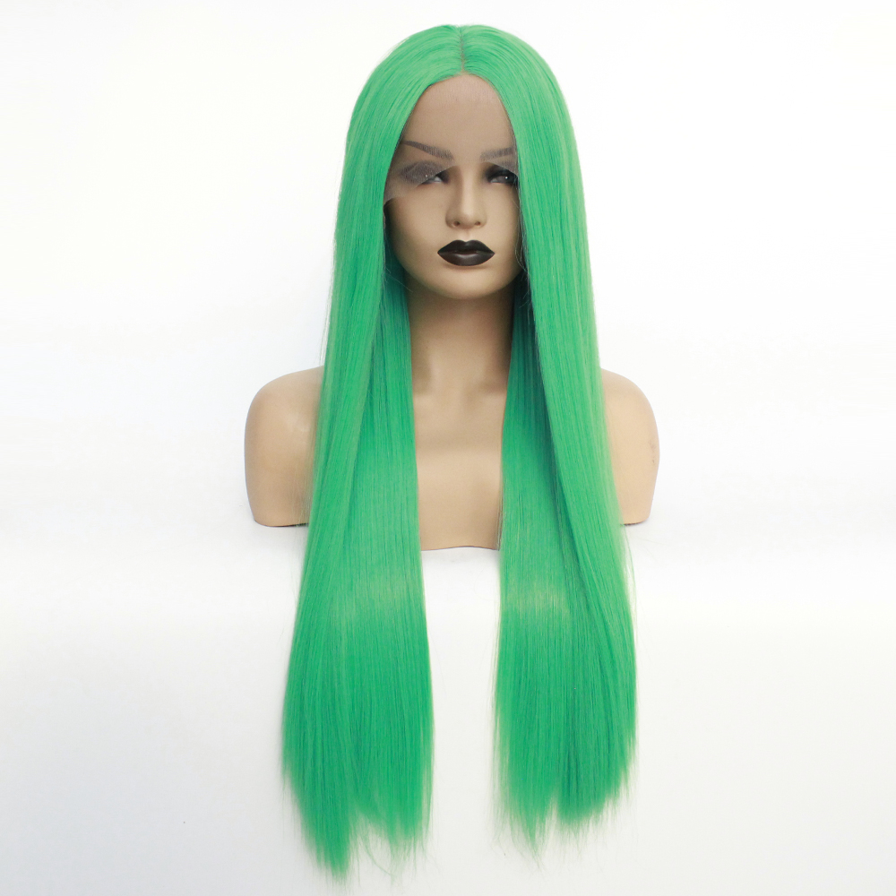 V NICE Natural Hairline Long Straight Green Color Heat Resistant Fiber Synthetic Lace Front Wigs for