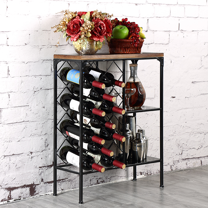 Us 319 0 The New Metal Wood Top With Iron Frame Wine Shelf Vertical Holder Creative Ground Rack In Racks From Home Garden On