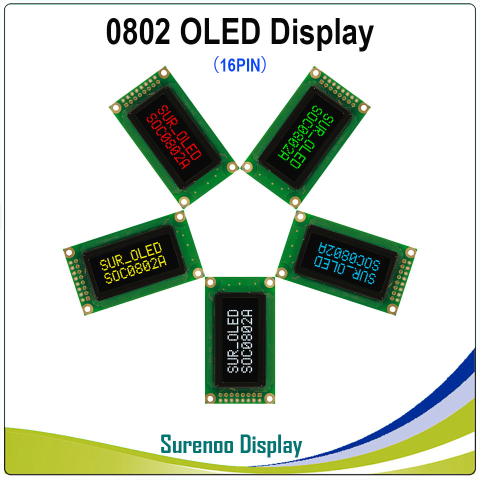 Real OLED Display, 0802 Parallel OLED Compatible 802 8*2 Character LCD Module Display LCM Screen Build-in WS0010, Support SPI
